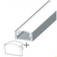 Комплект. Профиль для светодиодной ленты накладной 7х16 мм. ЛП7. Прозрачный. Анодированный.