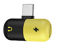 Сплиттер для зарядного и наушников Lightning для Apple iPhone 7 8 Plus X XS Max XR Желто-черный