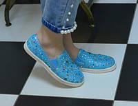 Мокасины голубые текстиль разноцветные камни код 5979