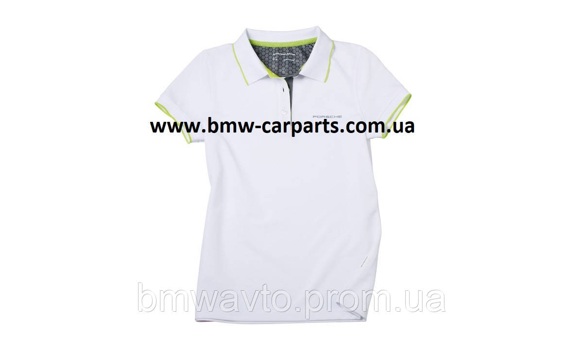 Женское поло Porsche Women's Golf Polo Shirt Sport, White-Green