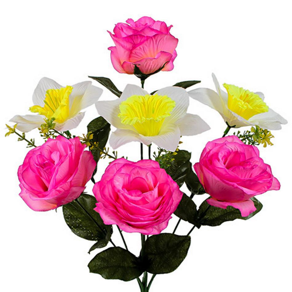 Букет искусственных роз и нарциссов, 41см (598)