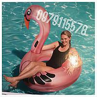 Надувной круг Перламутровый Фламинго с ручками 165 см