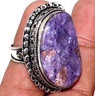 Красивое кольцо с чароитом в серебре. Кольцо с камнем чароит 18 размер Индия, фото 1
