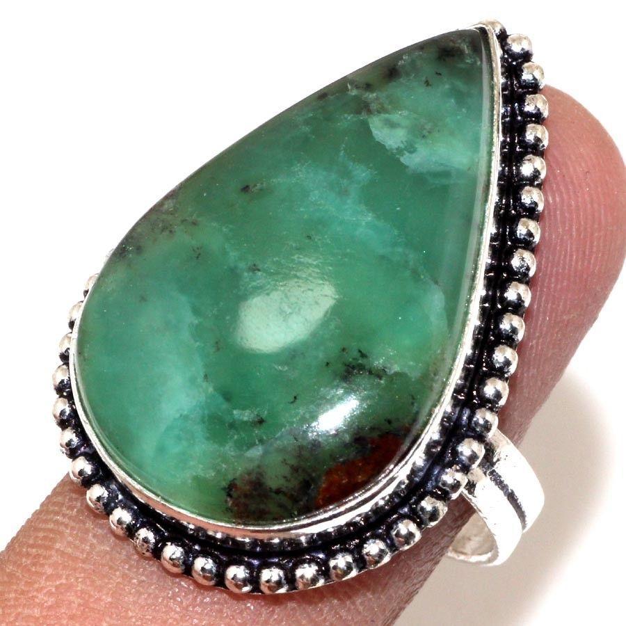 Красивое кольцо капля хризопраз в серебре. Кольцо с хризопразом 19-19,2 размер Индия!