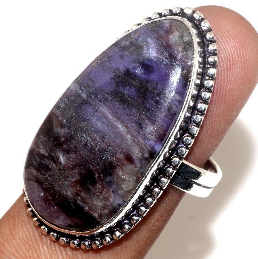 Красивое кольцо чароит кольцо с чароитом размер 19. Кольцо с камнем чароит Индия