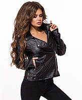 Короткая черная кожаная куртка-косуха,женская 42,44,46,48