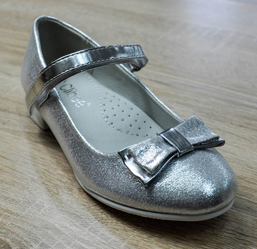 Туфли серебристого цвета с бантиком для девочки, Clibee