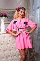 Летнее розовое платье - туника Шарм размеры 42-44, 46-48