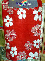 """Набор ковриков для ванной """"Banyolin"""", красный с белыми цветами производство Турция, фото 1"""