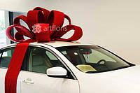 Подарочное оформление автомобилей, большой бант на машину, красный бант на крышу авто