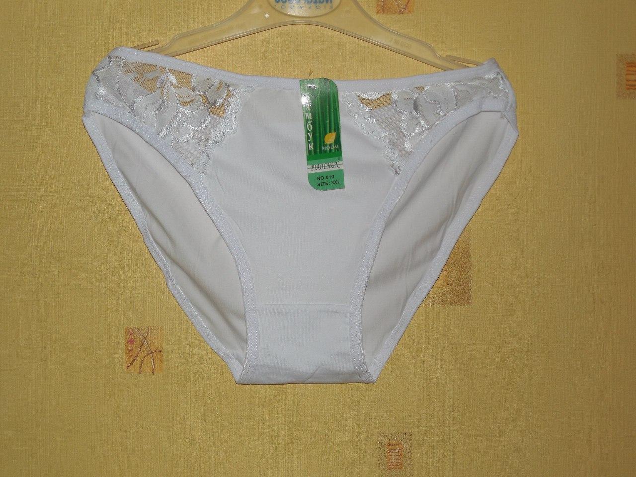 Білі ніжні трусики з гипюровыми вставками