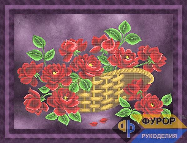 Схема для вишивки бісером картини Троянди у кошику (НБч2-018)