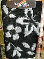 """Набор ковриков для ванной """"Banyolin"""", черный с белым цветком производство Турция, фото 1"""