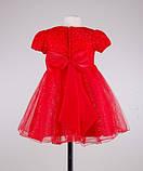 Нарядное красное платье  с коротким рукавом для девочек, фото 4
