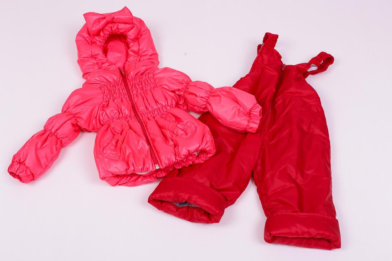 Куртка демисезонная и штаны для девочек от 6 мес до 1,5 лет Кроха  яркий коралл