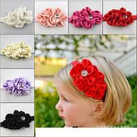 Красивая повязка для девочки с цветком и кристалликом, фото 1