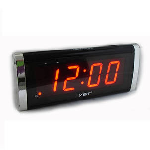 Часы сетевые 730-1 красные, фото 2