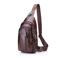 """Мини-рюкзак кожаный """"слинг"""" на одно плечо T1000 BULL"""