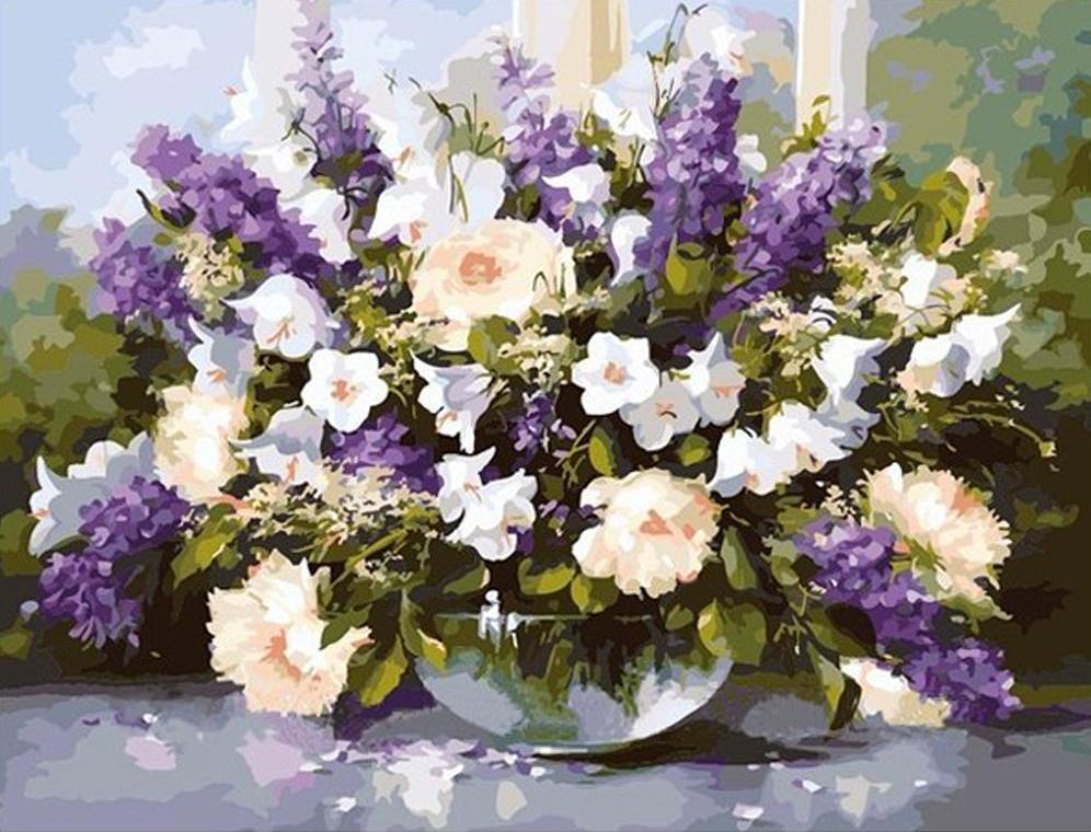 """Картина по номерам """"Большой букет в стеклянной вазе 2"""", 40x50 см., Идейка"""