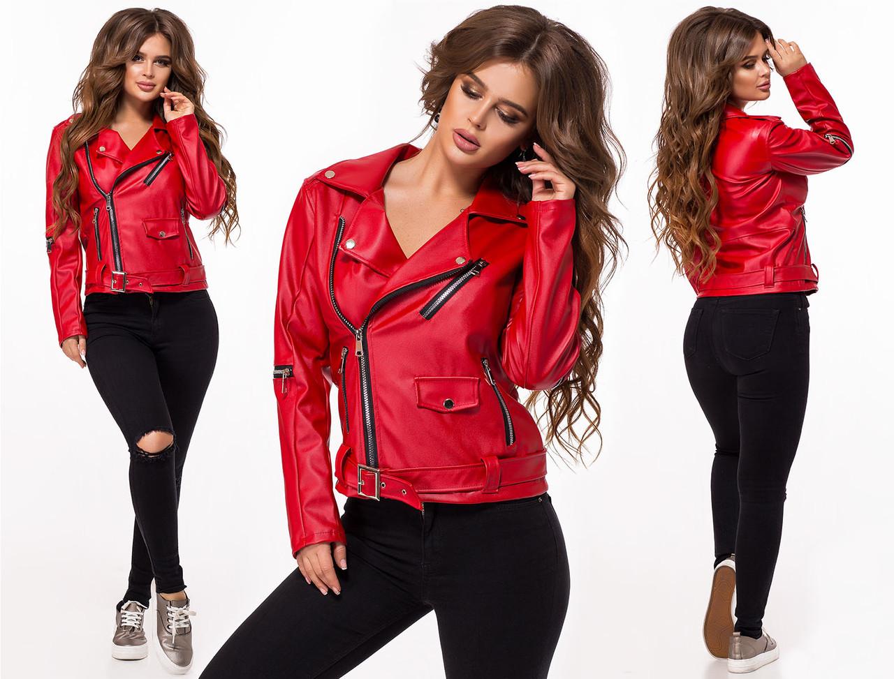 """Женская стильная короткая куртка демисезон 522 """"Кожа Косуха Рукава Змейки"""" в расцветках"""