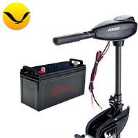 Электромтор для лодки Fisher 32 +80a/h AGM аккумулятор. Комплект; (Лодочный электромотор Фишер 32);