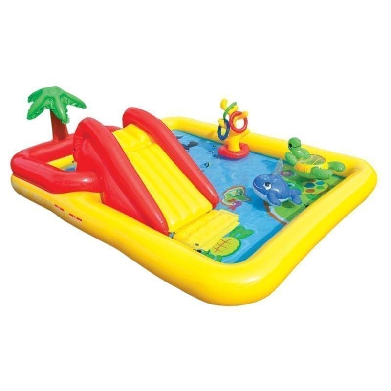 Надувной игровой центр бассейн с горкой Intex 57454 «Аквапарк» с надувными кольцами и игрушками