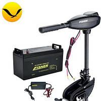 Электромтор для лодки Fisher 32 +80a/h GEL аккумулятор +зарядка 10A. Комплект; (Лодочный электромотор Фишер 32);
