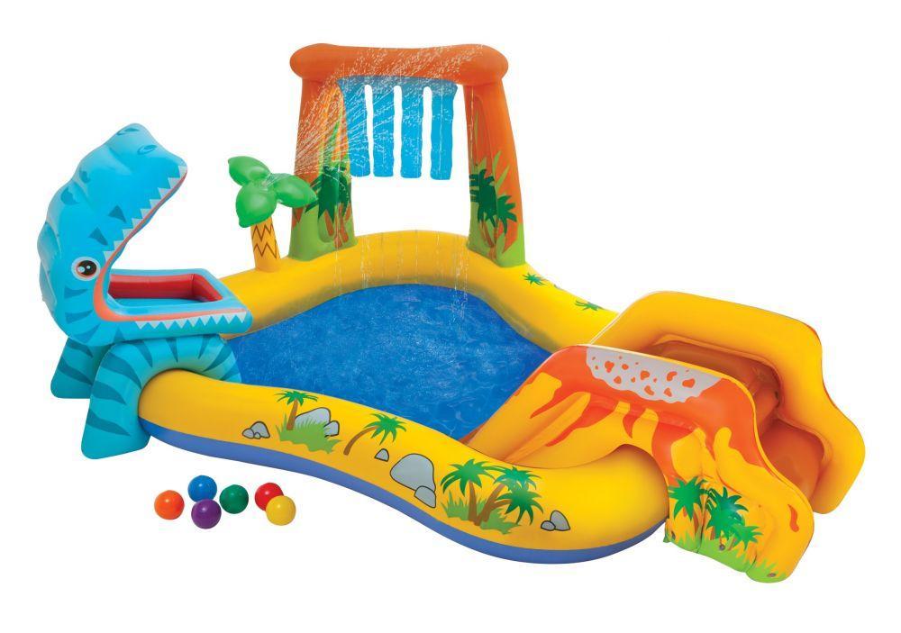 Детский надувной игровой центр Intex 57444 «Динозавры» с горкой для спуска, фонтаном и шариками