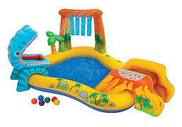 Детский надувной игровой центр Intex 57444 «Динозавры» с горкой для спуска фонтаном и шариками