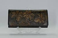 Женский кошелек из натуральной кожи с тисненім рисунком Лилии 2
