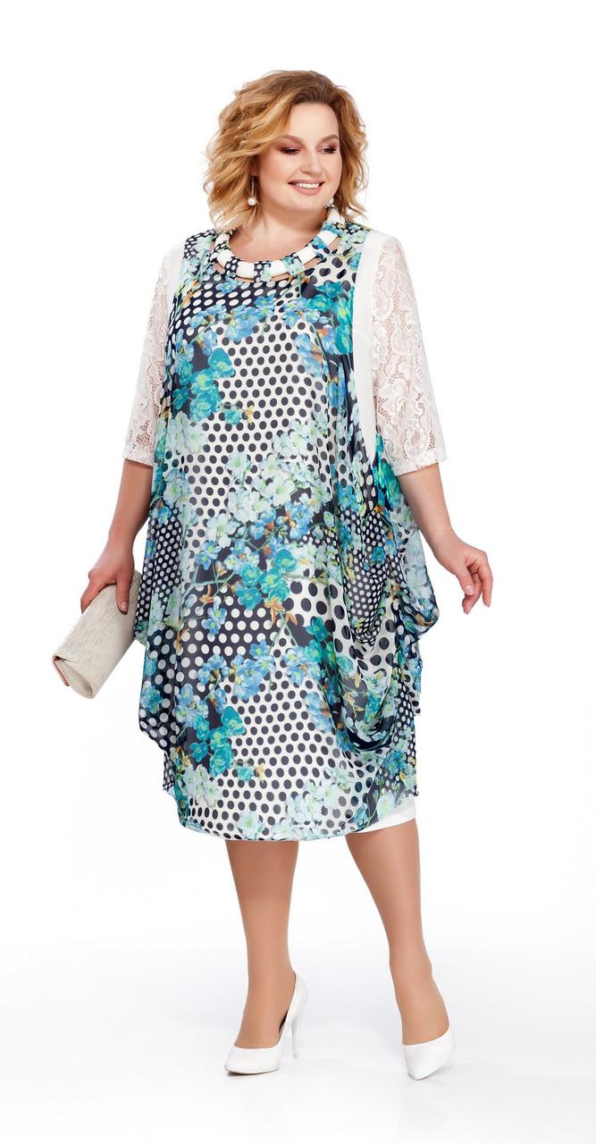 Платье Pretty-435/1 белорусский трикотаж, бирюзовый, 56