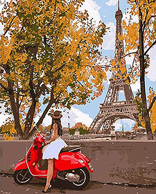 """Картина по номерам. Люди """"Впервые в Париже"""" 40*50см KHO4581"""