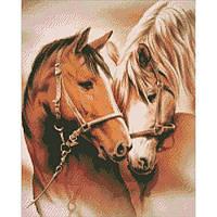 """Алмазная вышивка. """"Пара лошадей"""" 40*50см AM3003, фото 1"""