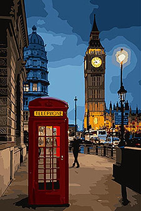 """Картина по номерам. Городской пейзаж """"Вечерний Лондон 2"""" 35*50см. KHO3546"""