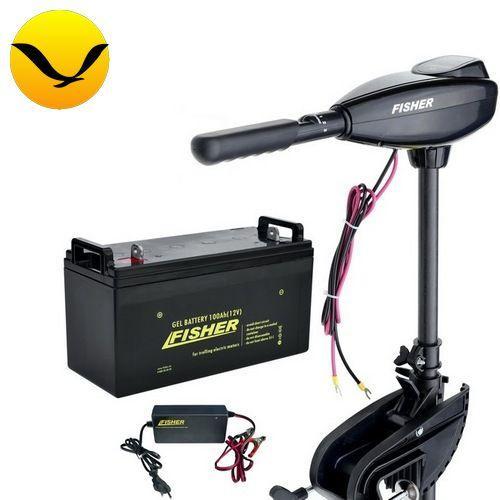 Электромтор для лодки Fisher 55 +150a/h GEL аккумулятор +зарядка 10A. Комплект; (Лодочный электромотор Фишер 55);