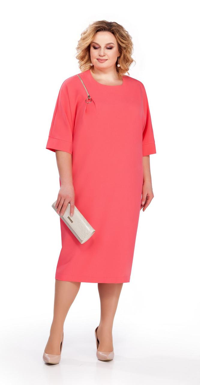 Платье Pretty-839/1 белорусский трикотаж, коралл, 56