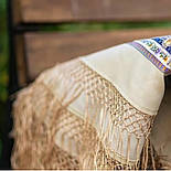 Единственная 1757-2, павлопосадский платок (шаль) из уплотненной шерсти с шелковой вязаной бахромой, фото 8