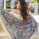 Единственная 1757-2, павлопосадский платок (шаль) из уплотненной шерсти с шелковой вязаной бахромой, фото 9