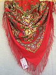 Венский вальс 1121-3, павлопосадский платок шерстяной  с шелковой бахромой, фото 4