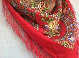 Венский вальс 1121-3, павлопосадский платок шерстяной  с шелковой бахромой, фото 5