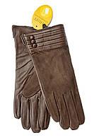 Женские комбинированные перчатки кожа+замша 757s2