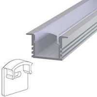 Комплект. Профиль для светодиодной ленты врезной 12х16 мм. ЛПВ12 Прозрачный Анодированный