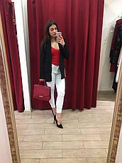 Женский пиджак черный с красной полосой по бокам Италия, фото 2