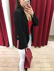 Женский пиджак черный с красной полосой по бокам Италия, фото 3