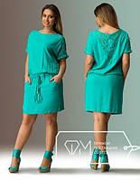 Стильное женское платье больших размеров! Цвет: бирюза, арт 0099
