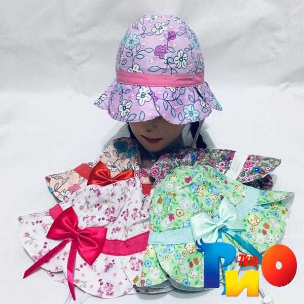 Детскаялетняя панамка с бантиком, летний принт (100%  cotton) для девочек  р-р 48-50 (5 ед в уп)