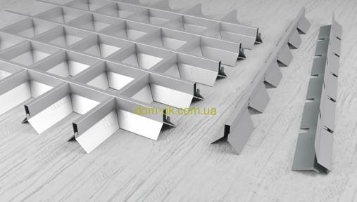 Грильято пирамидальный,  ячейка 86х86 мм , цвет белый RAL 9003