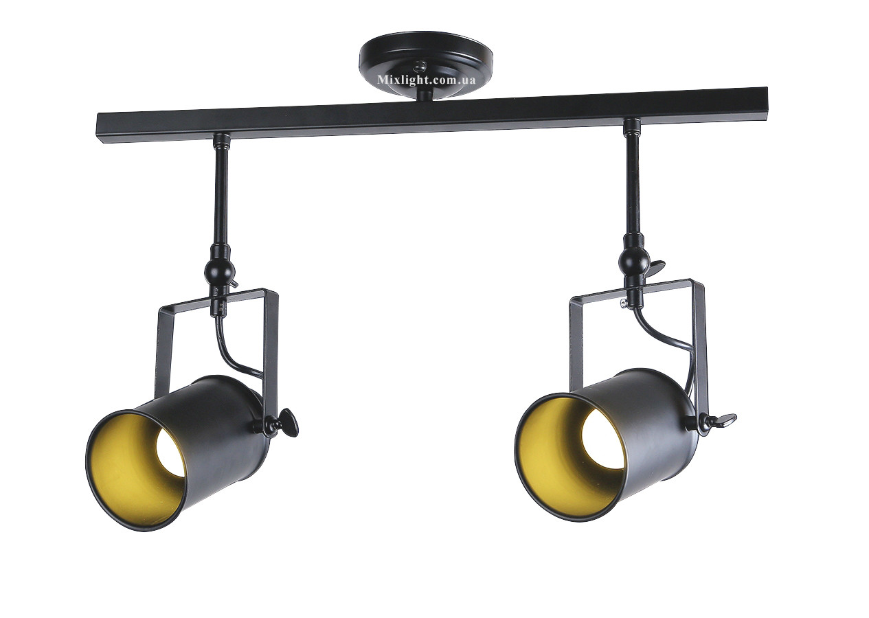 Светильник потолочный в виде прожектора на планке, направляемый в стиле Loft LV761SD02-2 BK