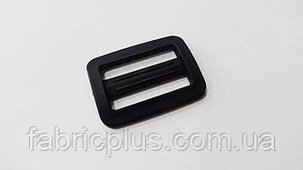 Пряжка перетяжка двущелевая 30 мм черная пластиковая