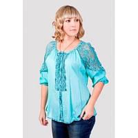 Нарядная блуза с ажурными рукавами больших размеров